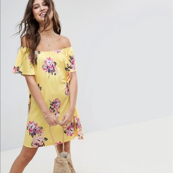 ASOS Dresses & Skirts - ASOS Yellow Floral Off The Shoulder Dress